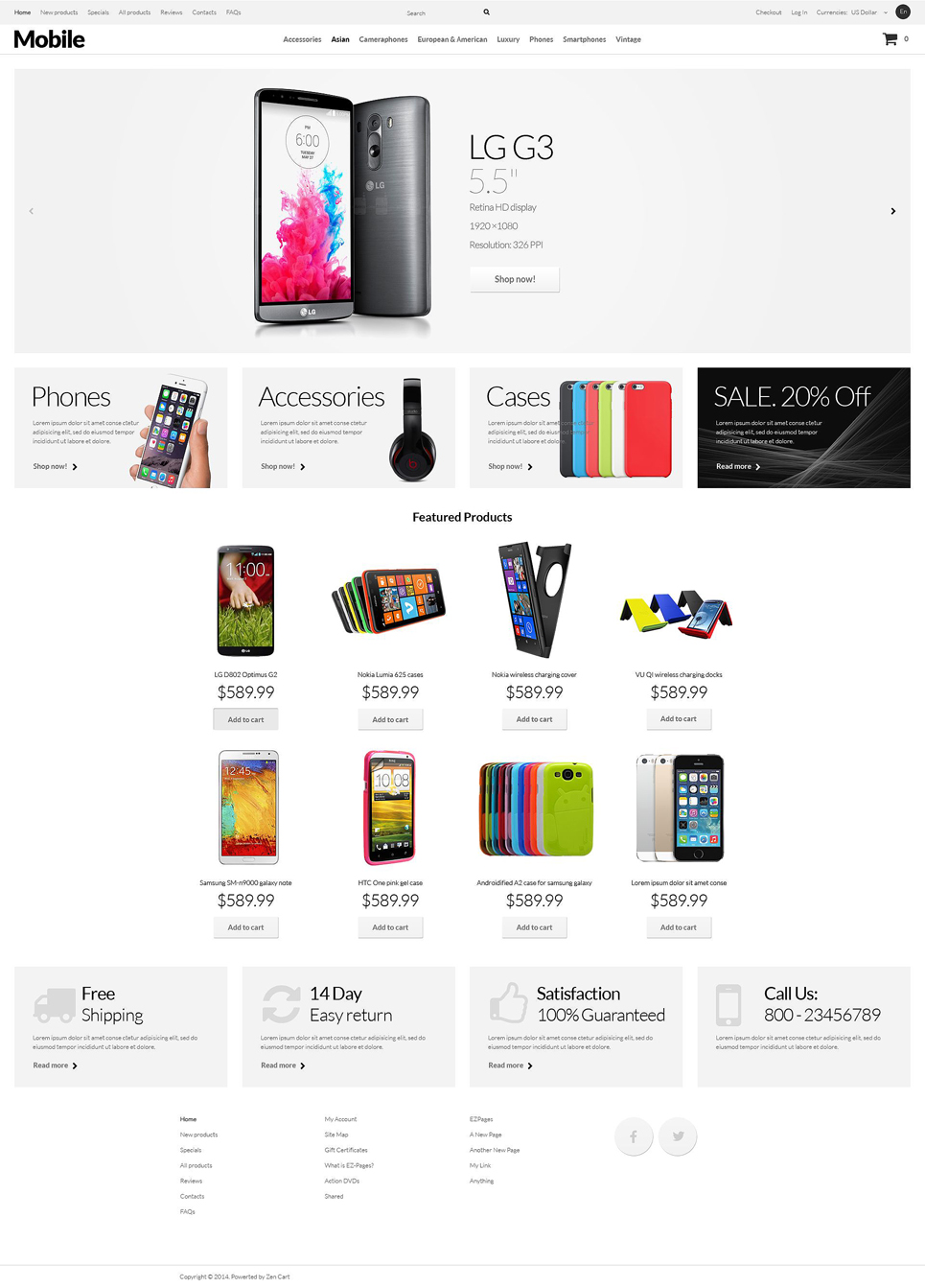 Mobile Phones ZenCart Template TMT