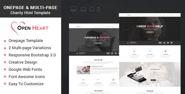 Open Heart Onepage & Multipage Charity Template  TFx