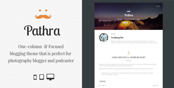 Pathra | One-column Focused Blogging Theme  TFx