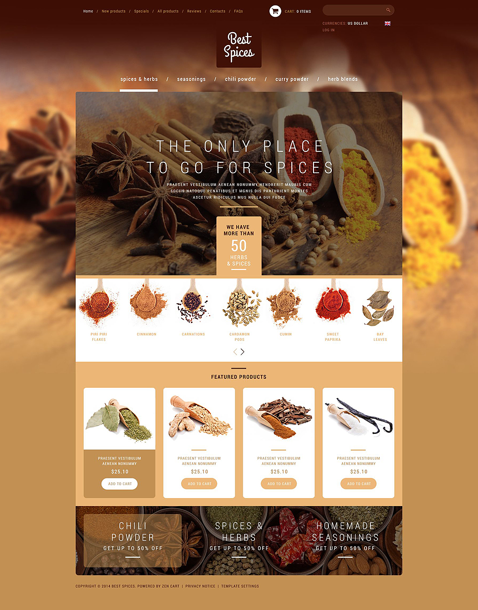 Refined Spices Herbs ZenCart Template TMT