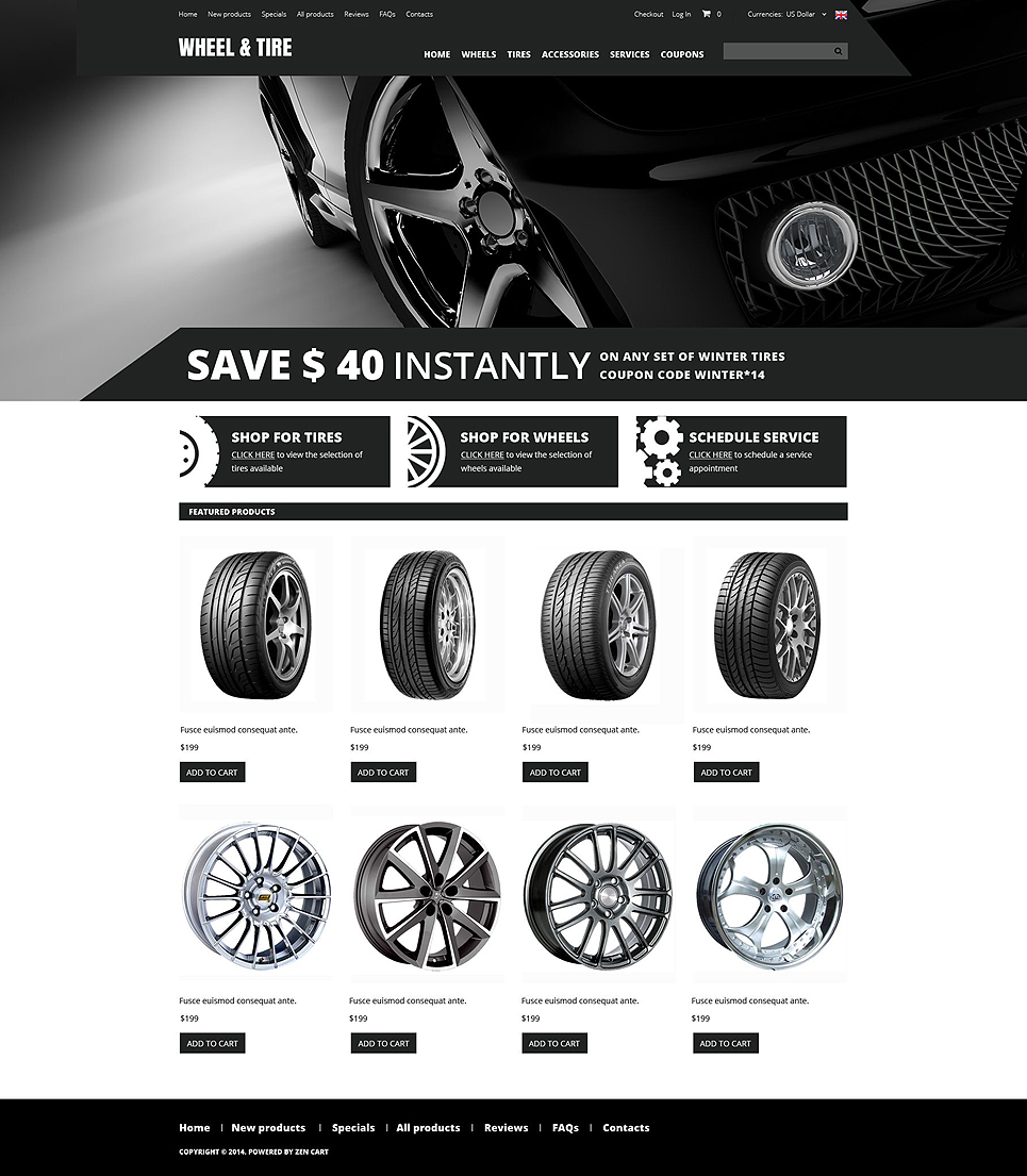 Wheels and Tyres ZenCart Template TMT