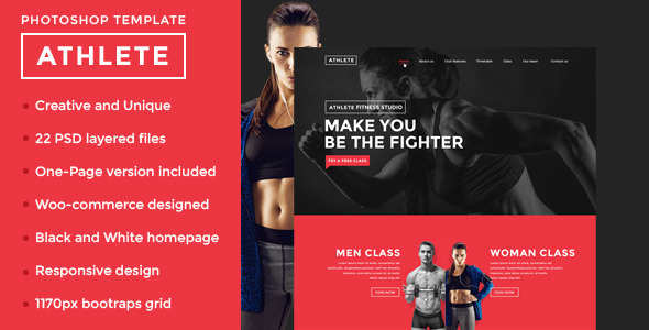 Athlete - Fitness and Sport PSD Template  TFx