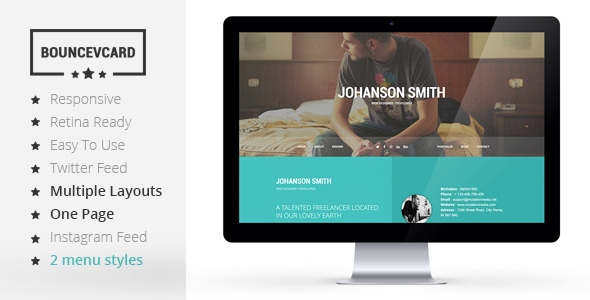 BOUNCE - Responsive One Page Vcard Template  TFx