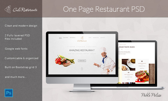 Culi Ristorante - One Page Restaurant PSD Template  TFx