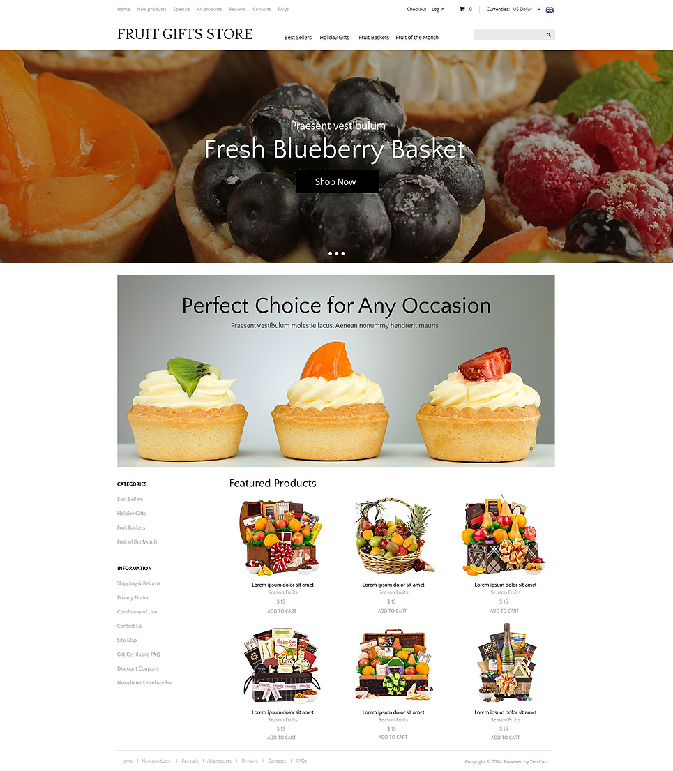 Delicious Gifts ZenCart Template TMT