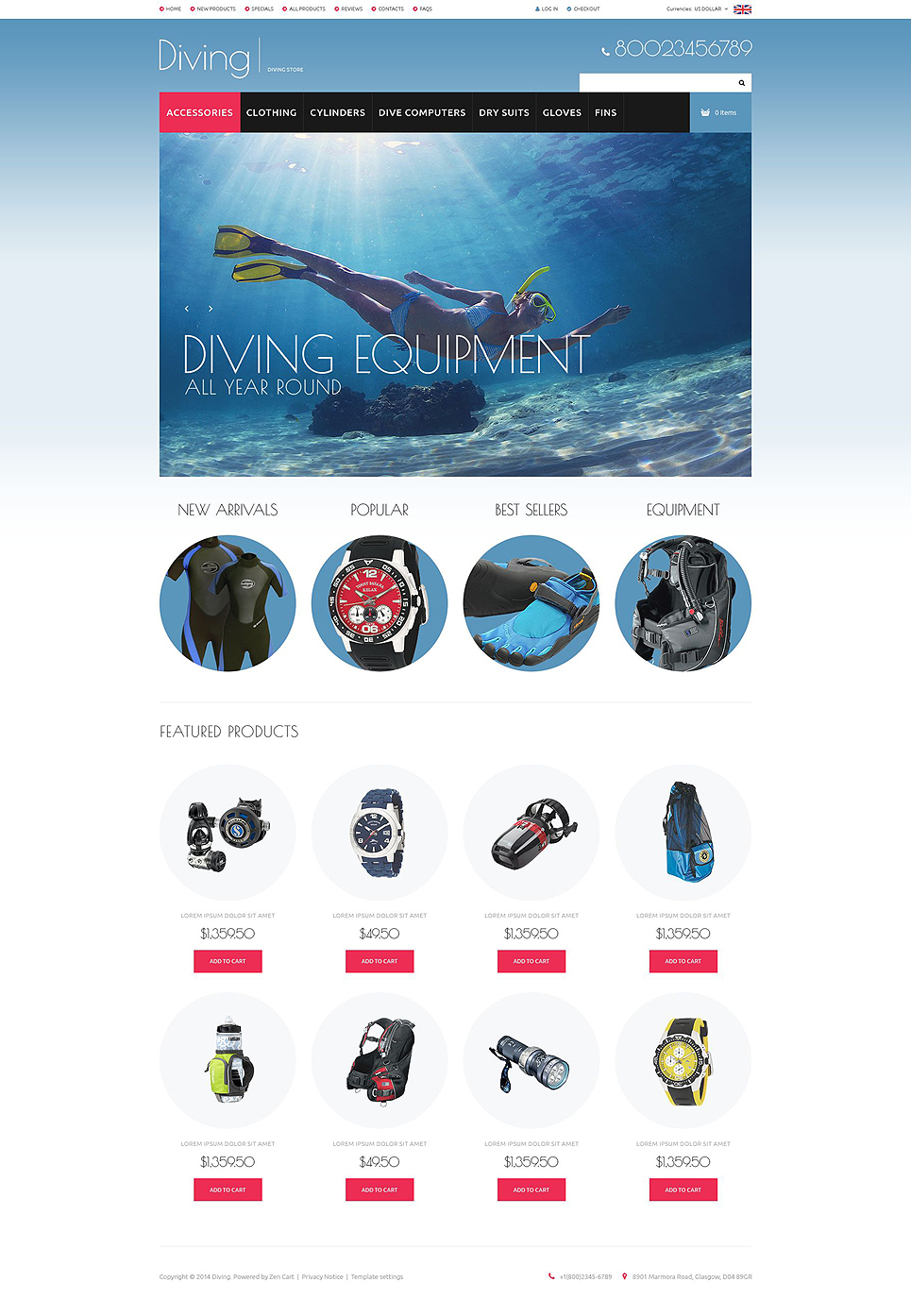 Diving Gear ZenCart Template TMT