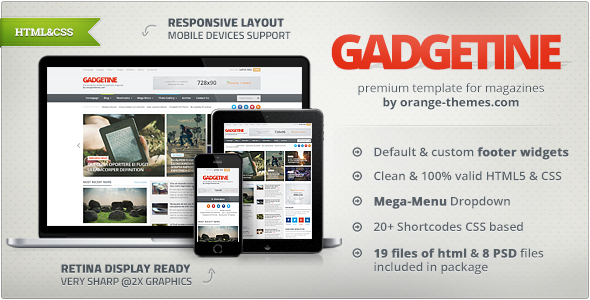 Gadgetine - Responsive News and Magazine HTML  TFx