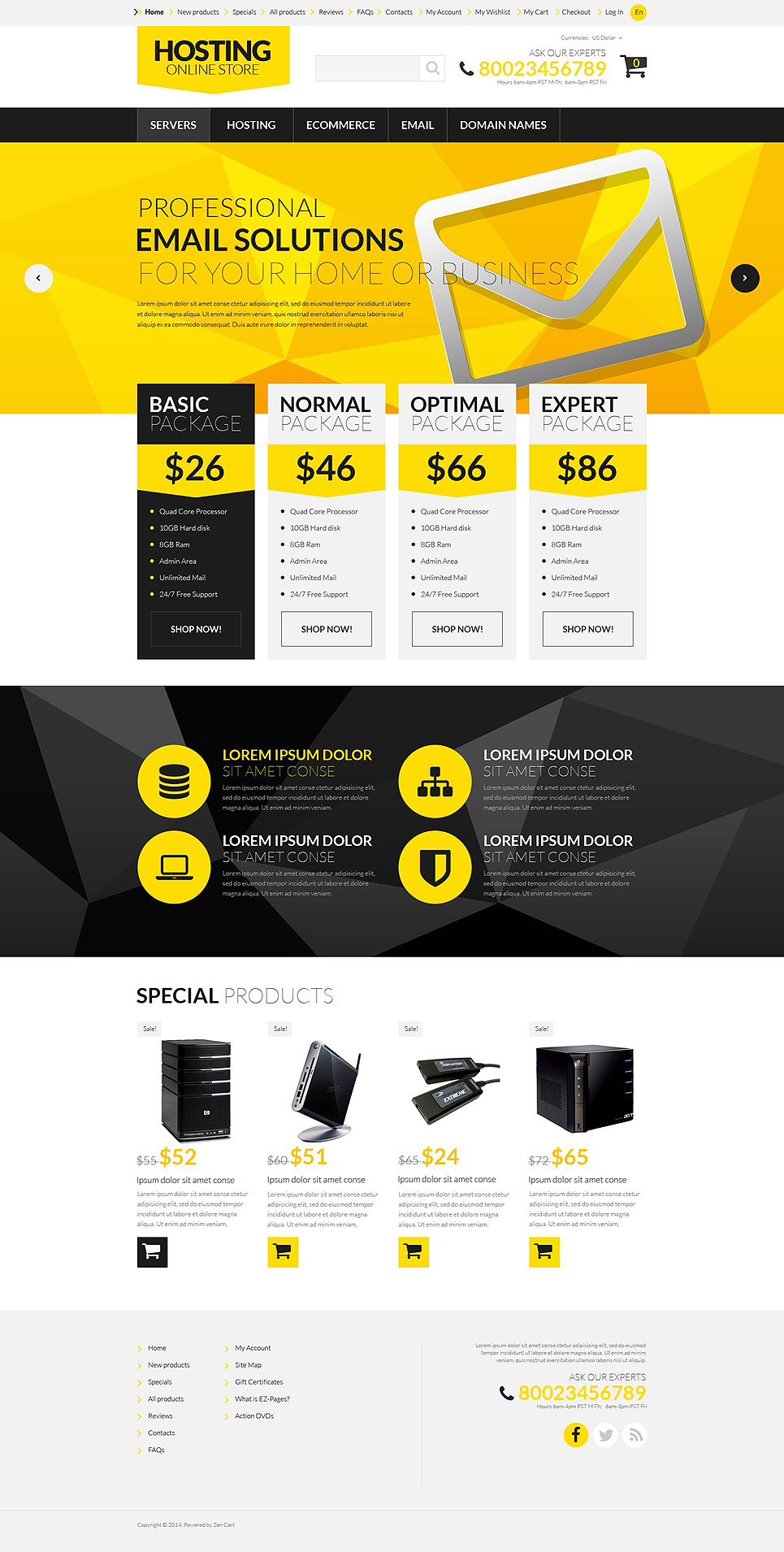 Hosting Board ZenCart Template TMT