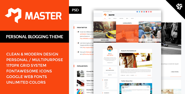 Master - Personal Blog Theme  TFx PSDTemplates