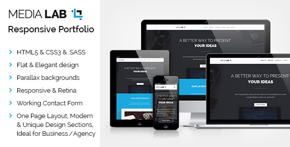 Media Lab - Parallax OnePage Responsive Template  TFx