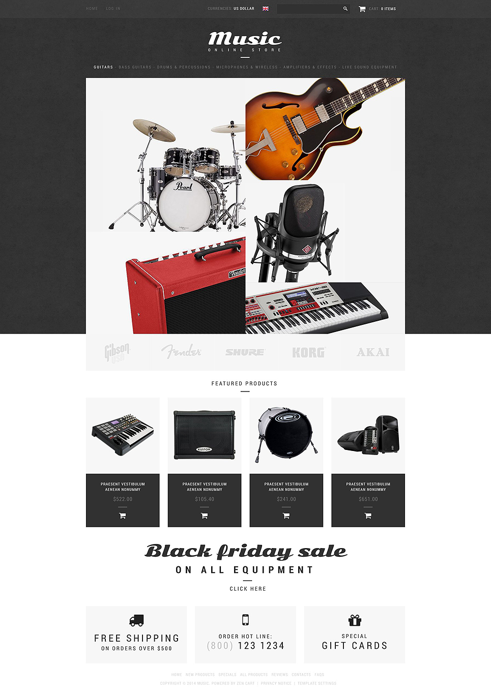 Music Shop ZenCart Template TMT
