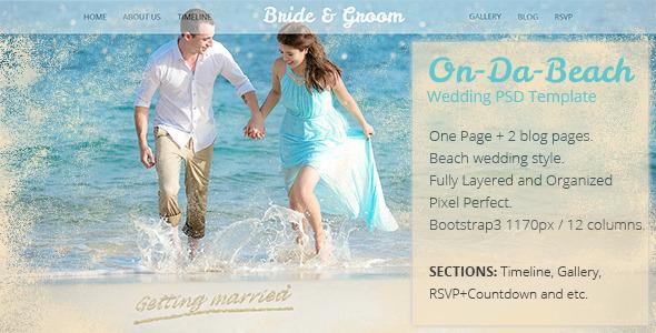 On Da Beach - Wedding One Page PSD Template   TFx