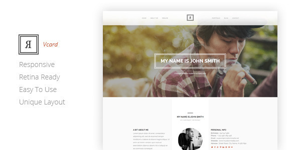 RIVAL One Page Vcard Template  TFx SiteTemplates