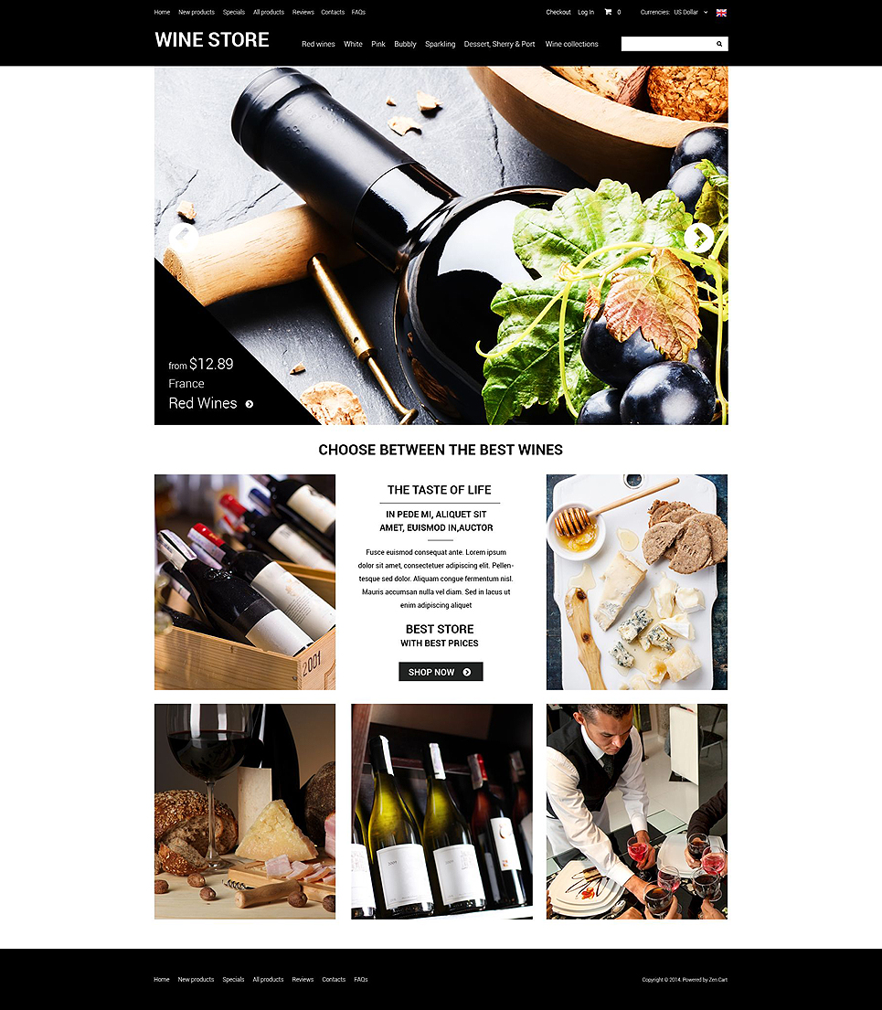 Refined Wine ZenCart Template TMT