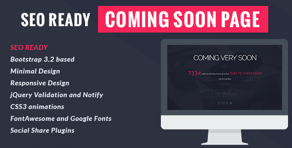 Seo Ready Coming Soon Page  TFx SiteTemplates