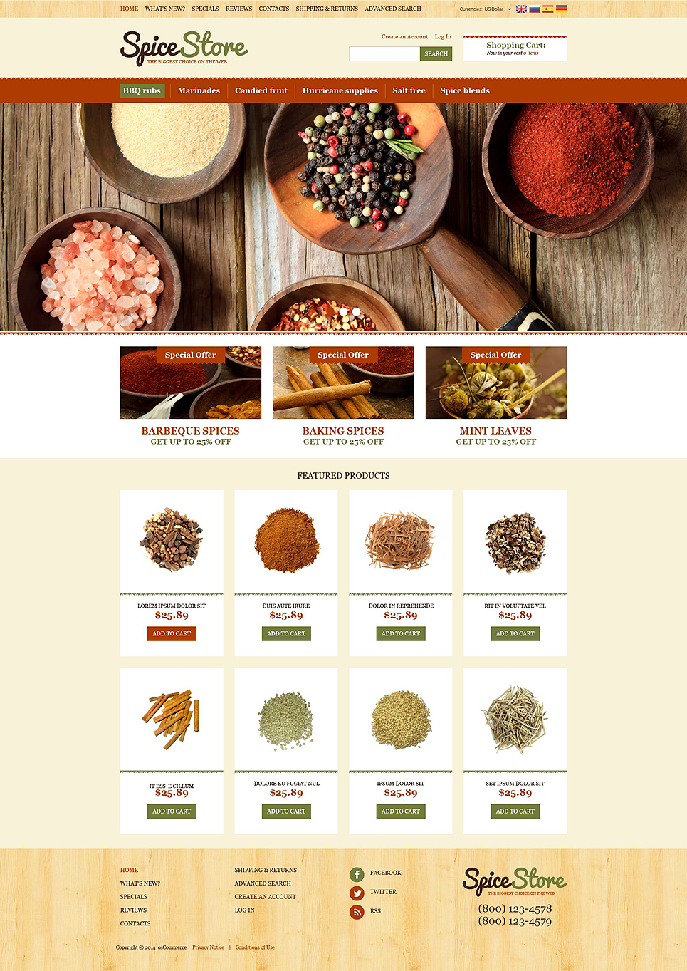 Spice Shop OsCommerce Template TMT