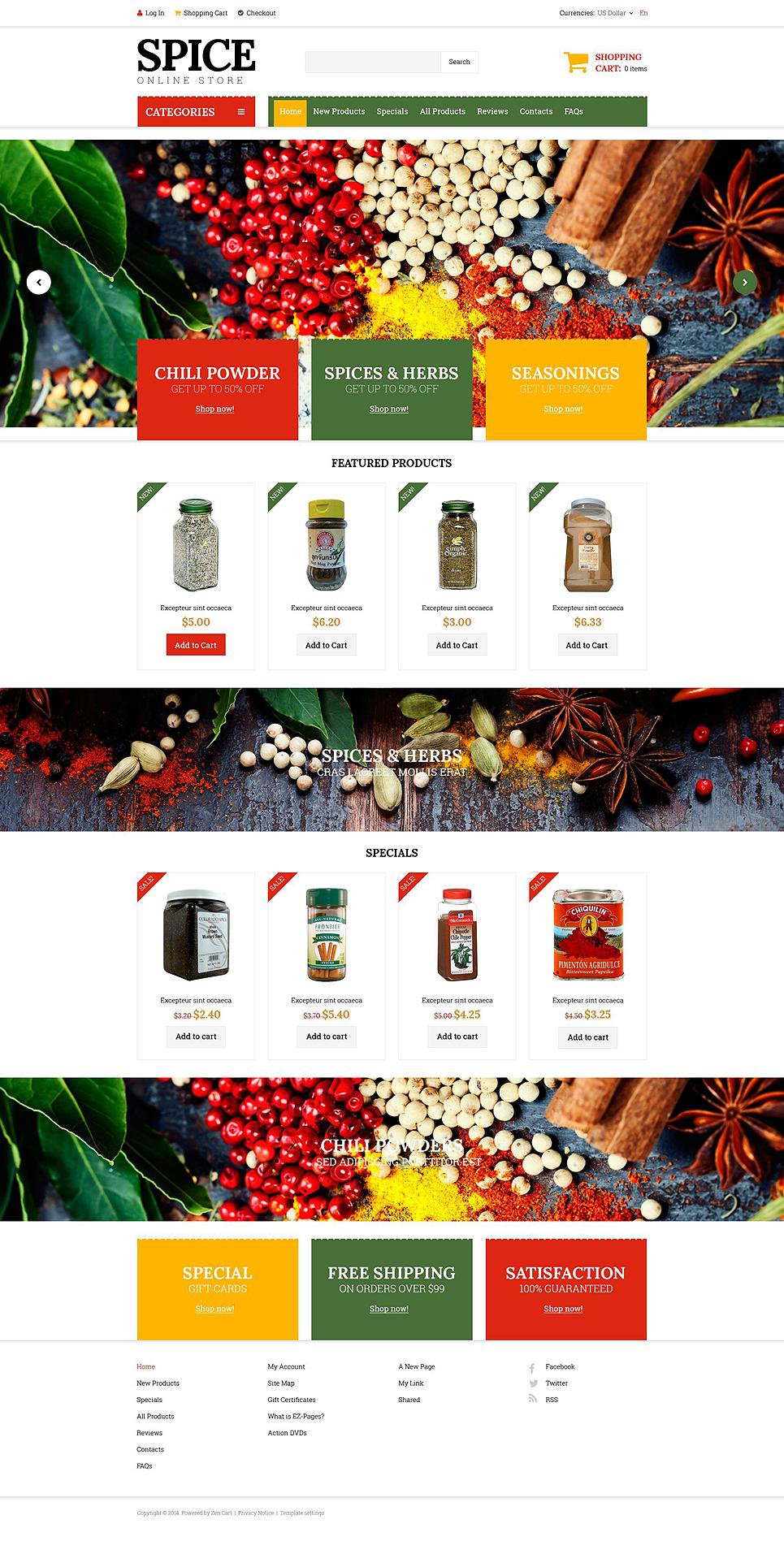Spice Shop ZenCart Template TMT