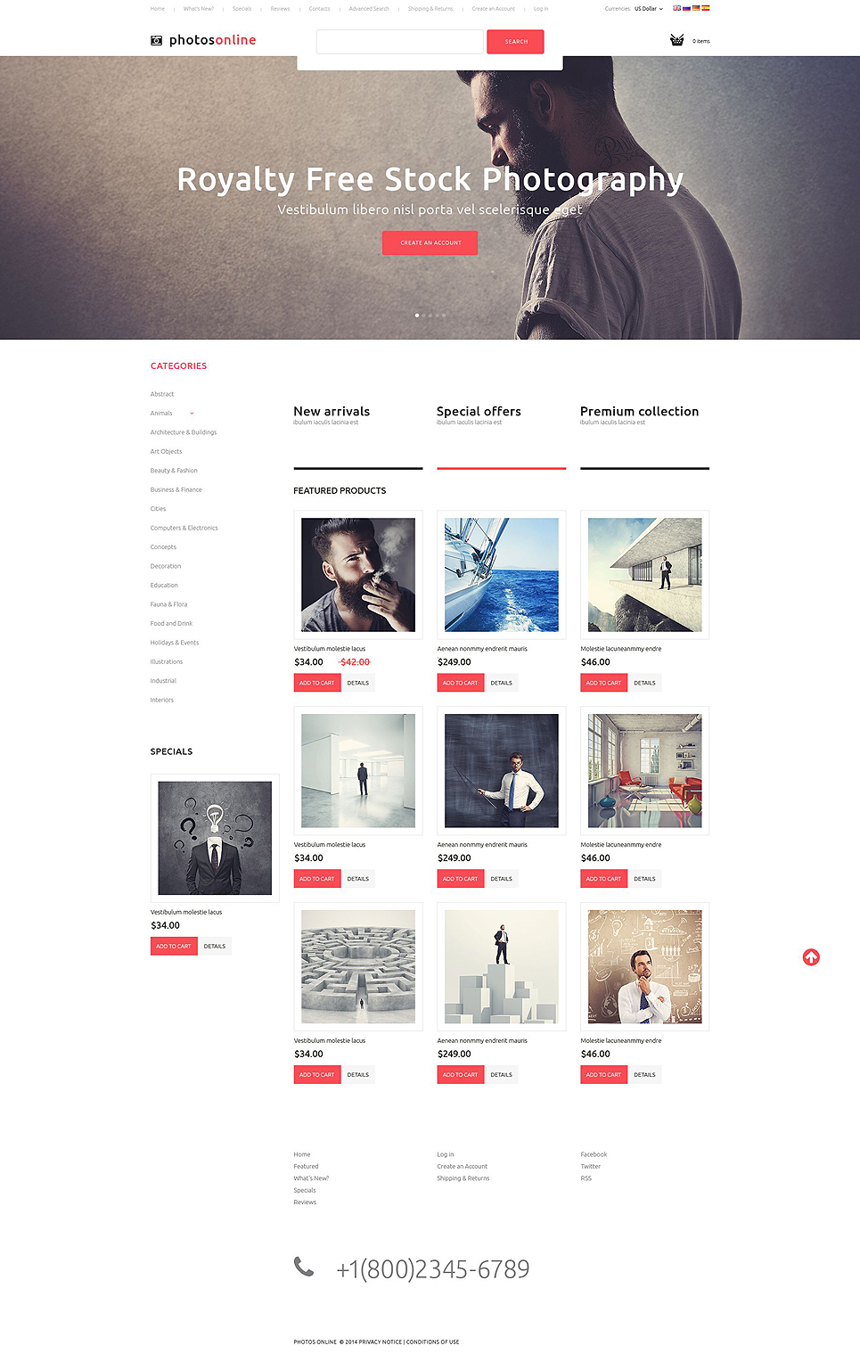 Stock Photography OsCommerce Template TMT