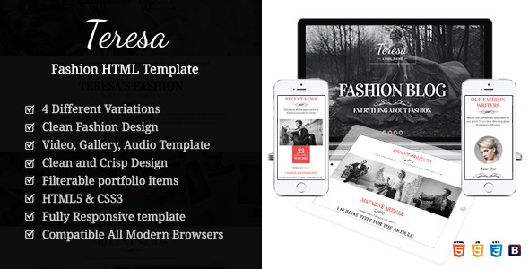 Teresa A One And Multi Page Fashion HTML Template  TFx
