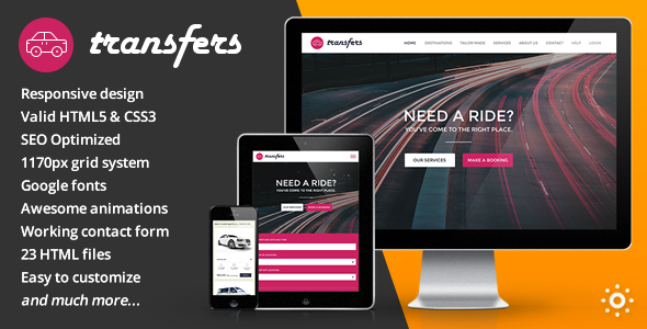 Transfers - Transport and Car Hire HTML Template  TFx