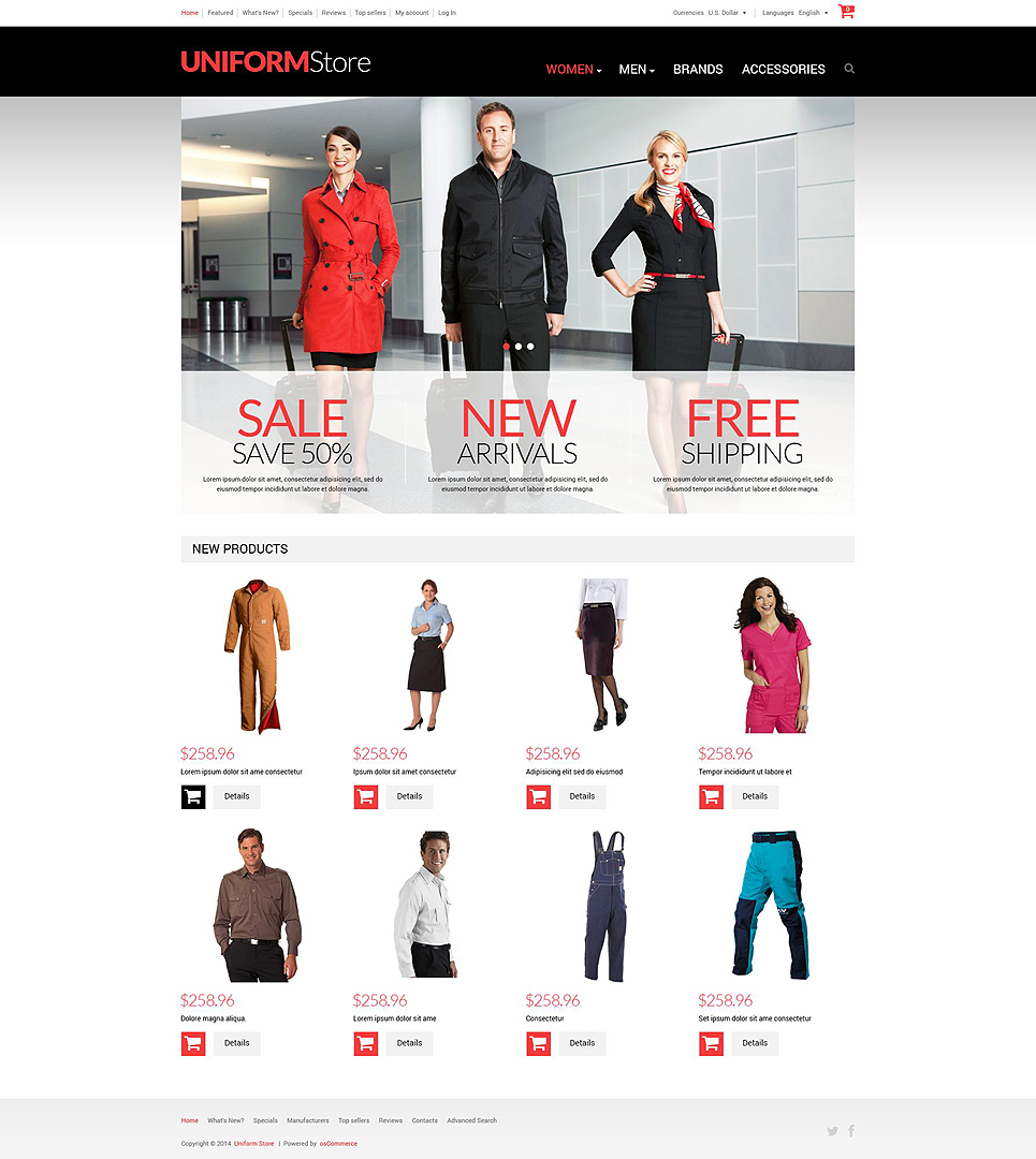 Uniform Store OsCommerce Template TMT