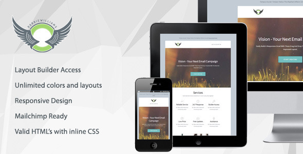 Vision - Responsive Email Template with Builder  TFx