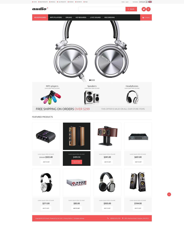 Audio Gear ZenCart Template TMT