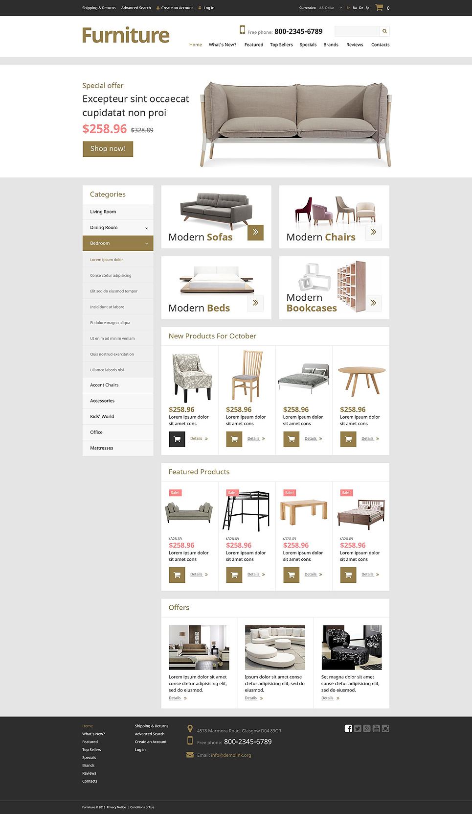 Furniture Manufacturing OsCommerce Template TMT