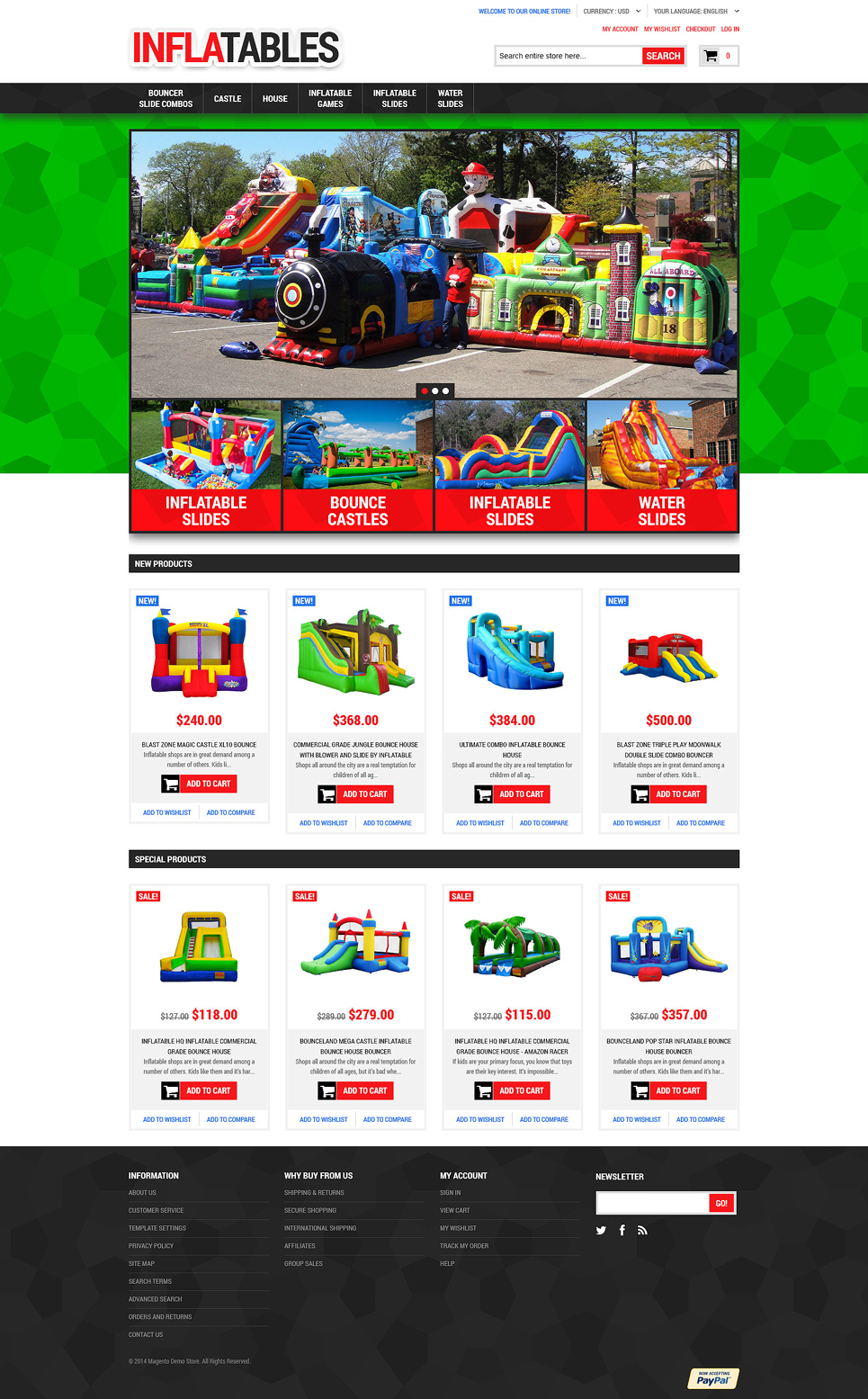 Inflatable Castles and Slides Magento Theme TMT