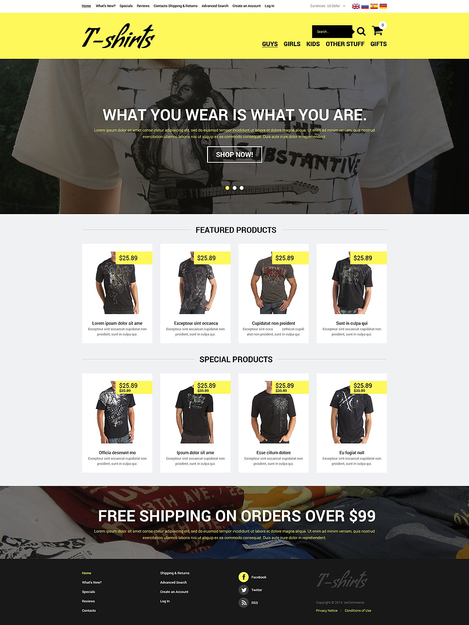 T-shirt Shop OsCommerce Template TMT