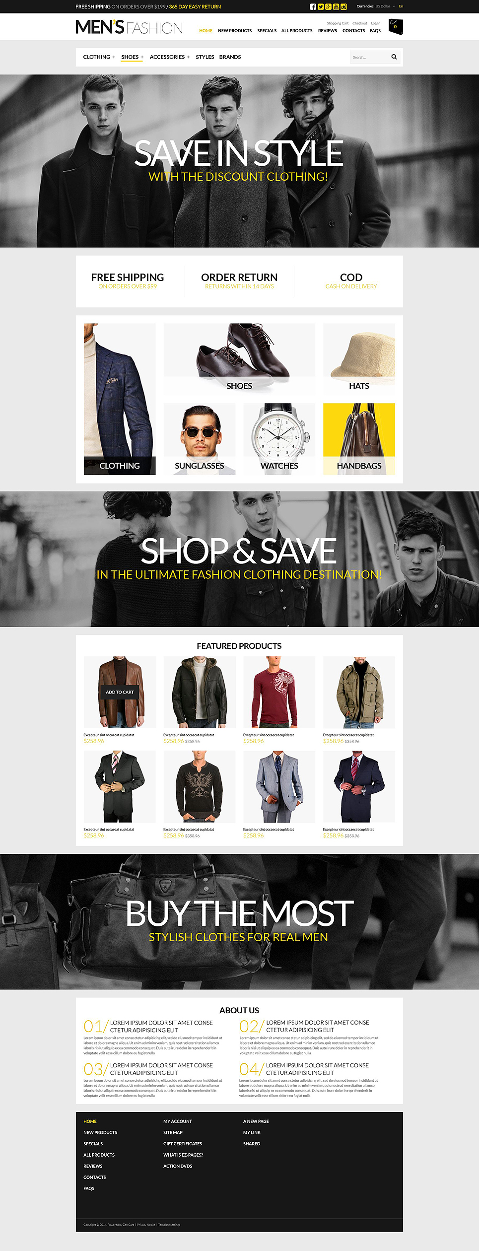 Ultimate Mens Shopping Spot ZenCart Template TMT