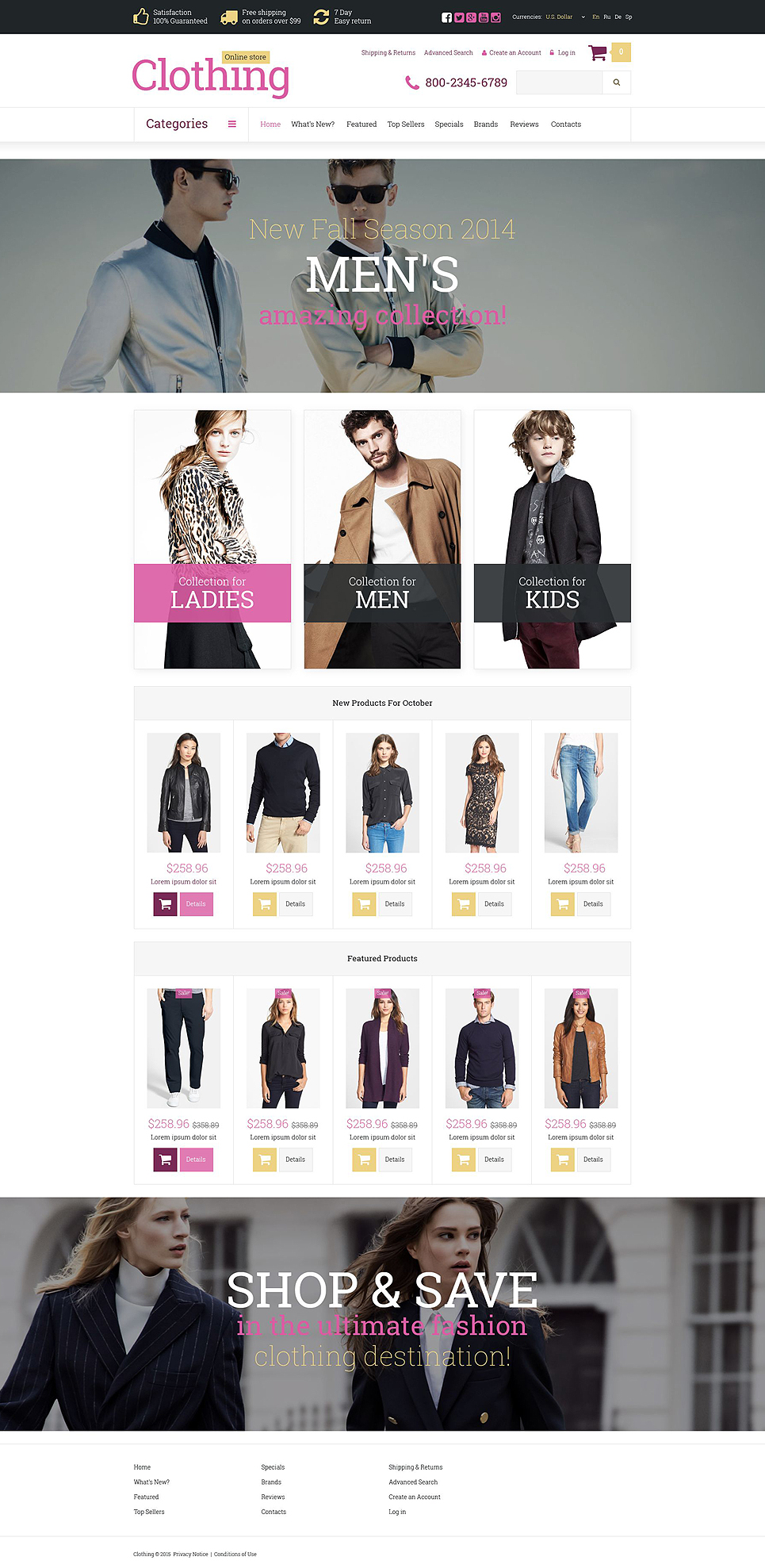 Clothes Store OsCommerce Template TMT