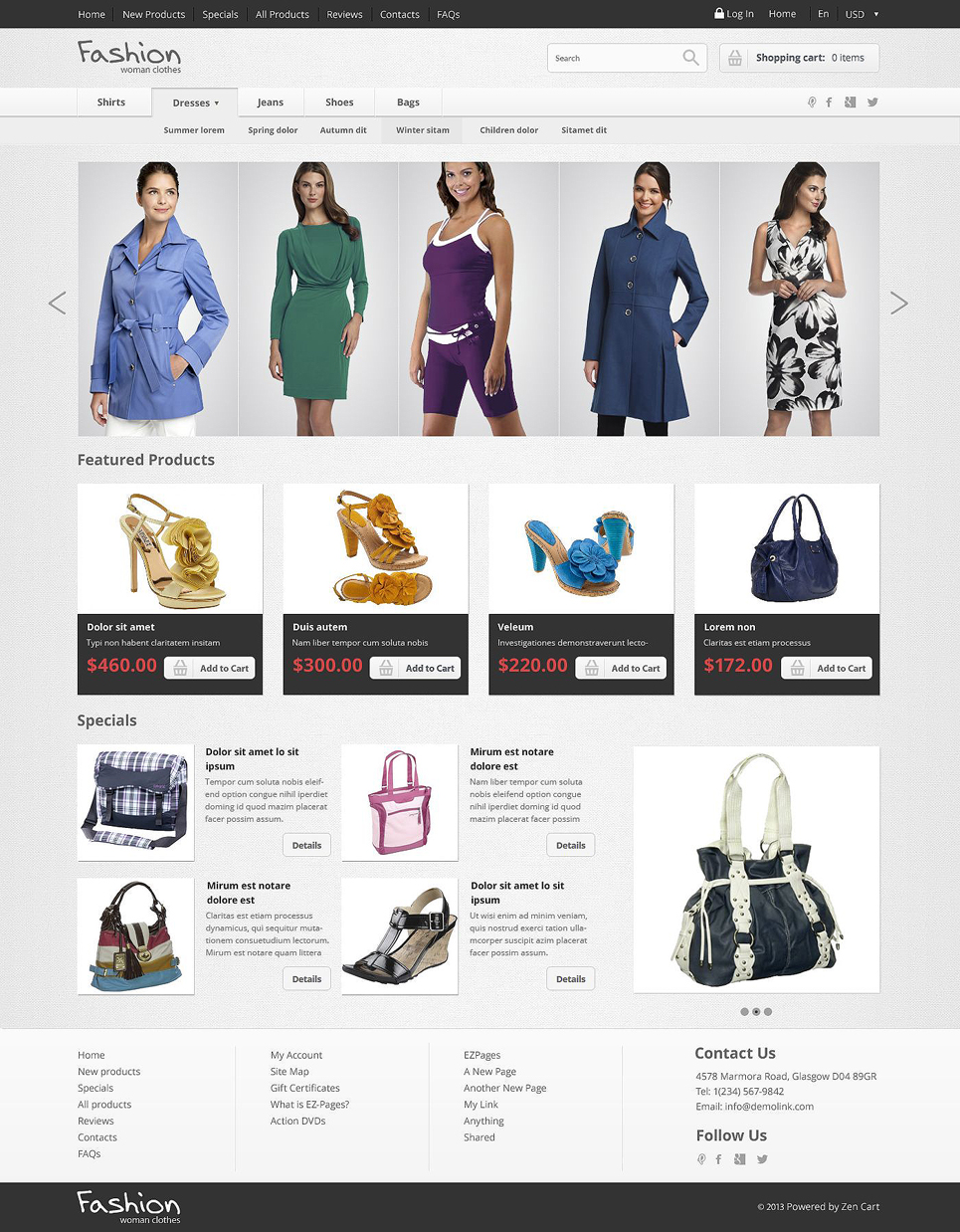 Fashion Store ZenCart Template TMT