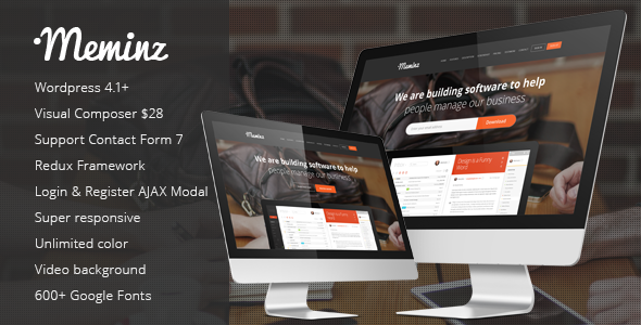 Meminz - Landing Page Wordpress Theme  TFx