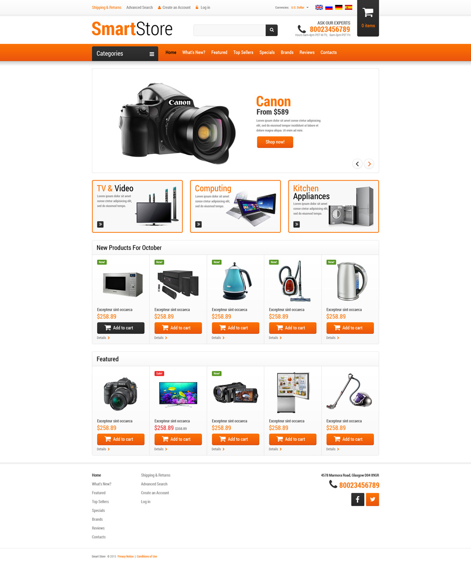 Home Electronics OsCommerce Template TMT