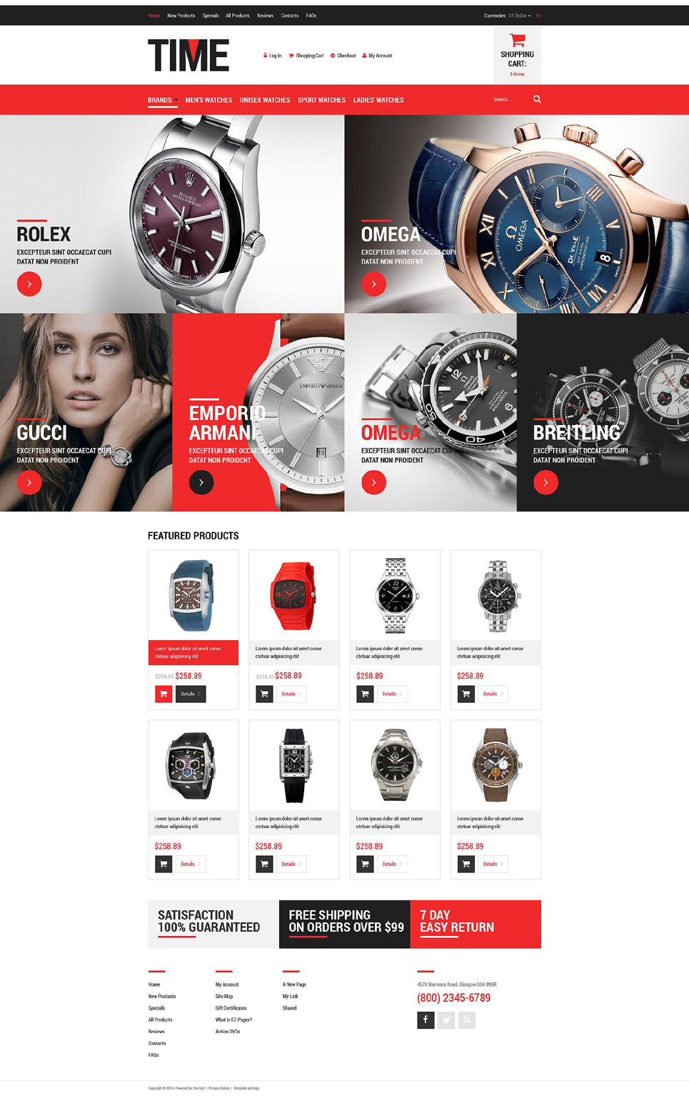 Luxury Watches ZenCart Template TMT