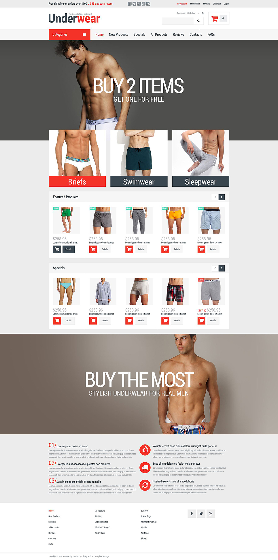 Men's Underwear ZenCart Template TMT