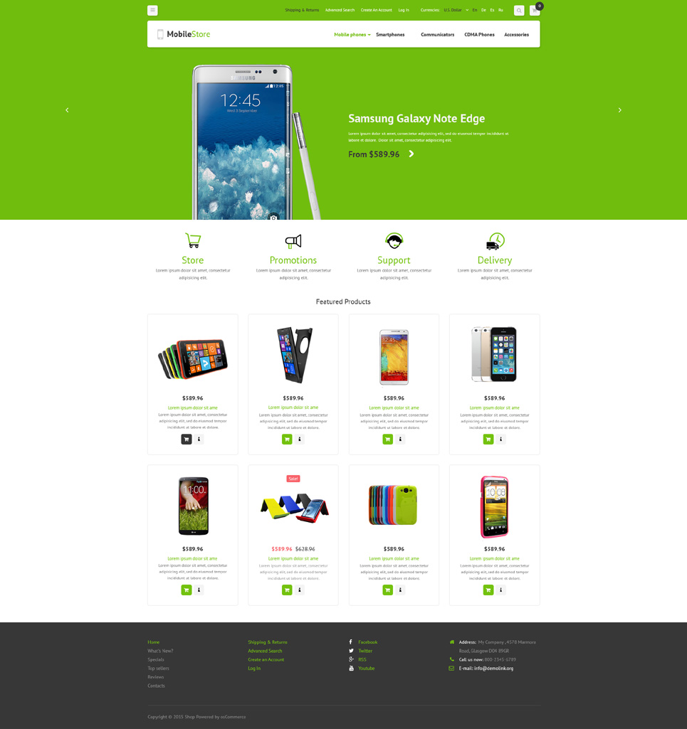 Mobile Phones OsCommerce Template TMT