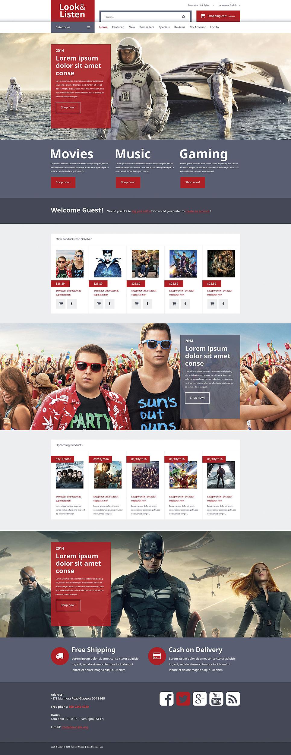 Music Video Entertainment OsCommerce Template TMT