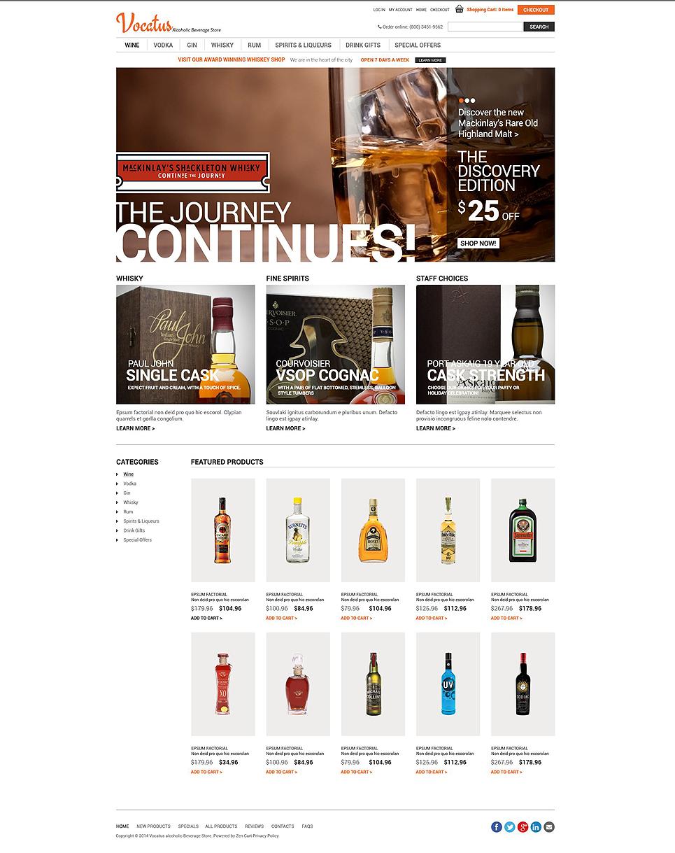 Quality Alcohol ZenCart Template TMT
