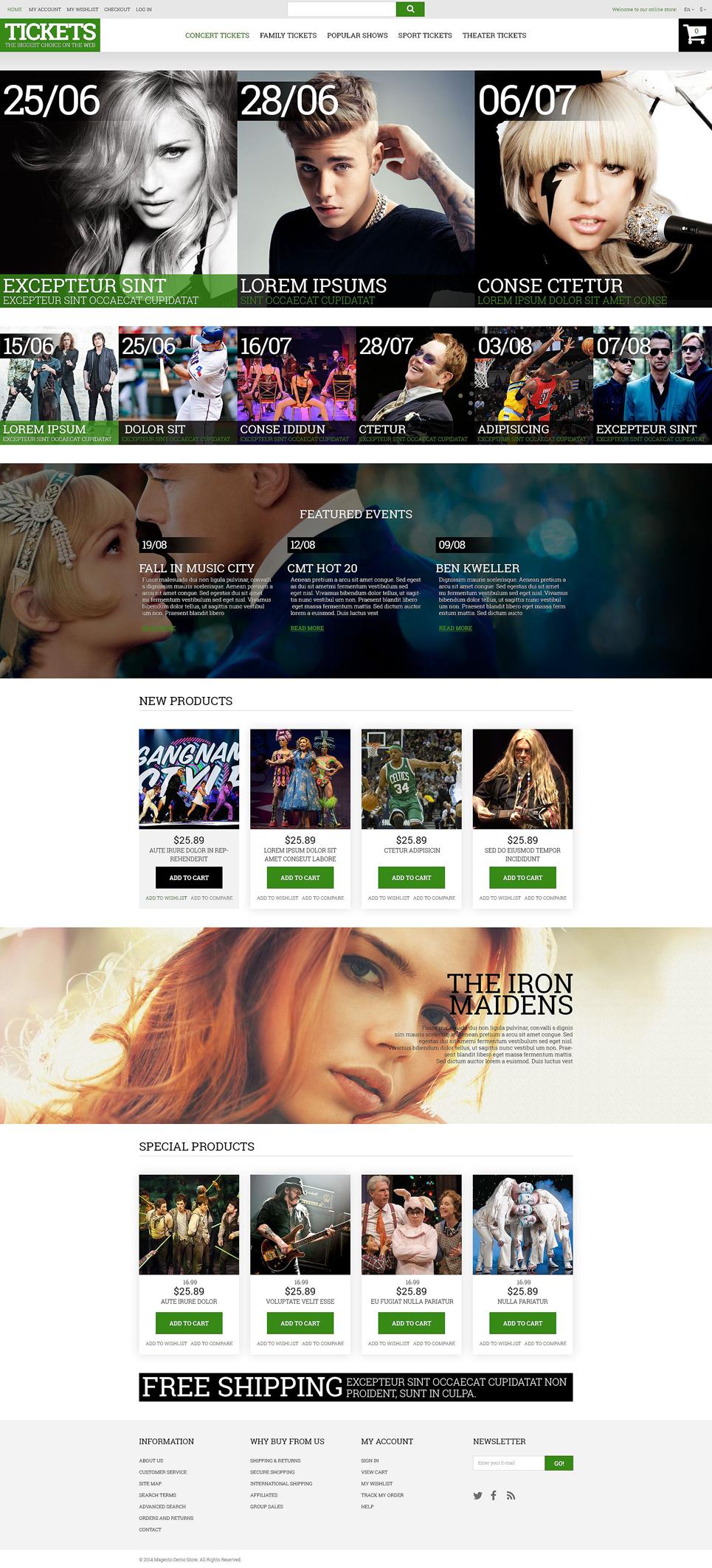 Tickets Website Responsive Magento Theme TMT