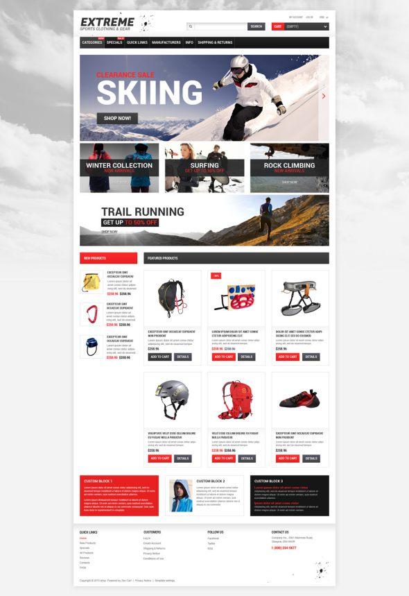Extreme Sports Responsive ZenCart Template TMT