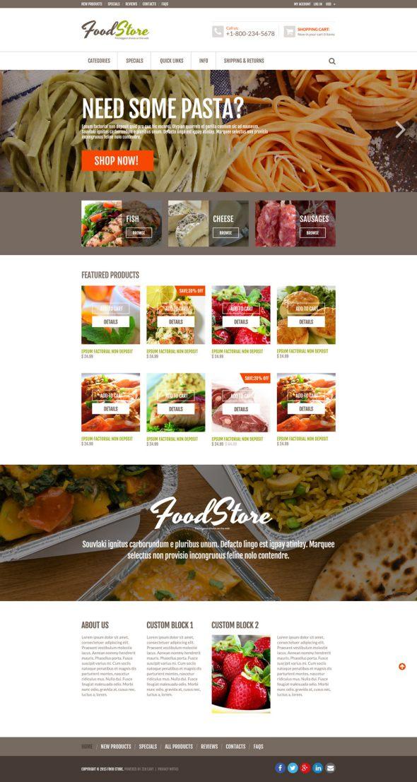 Food Store Responsive ZenCart Template TMT