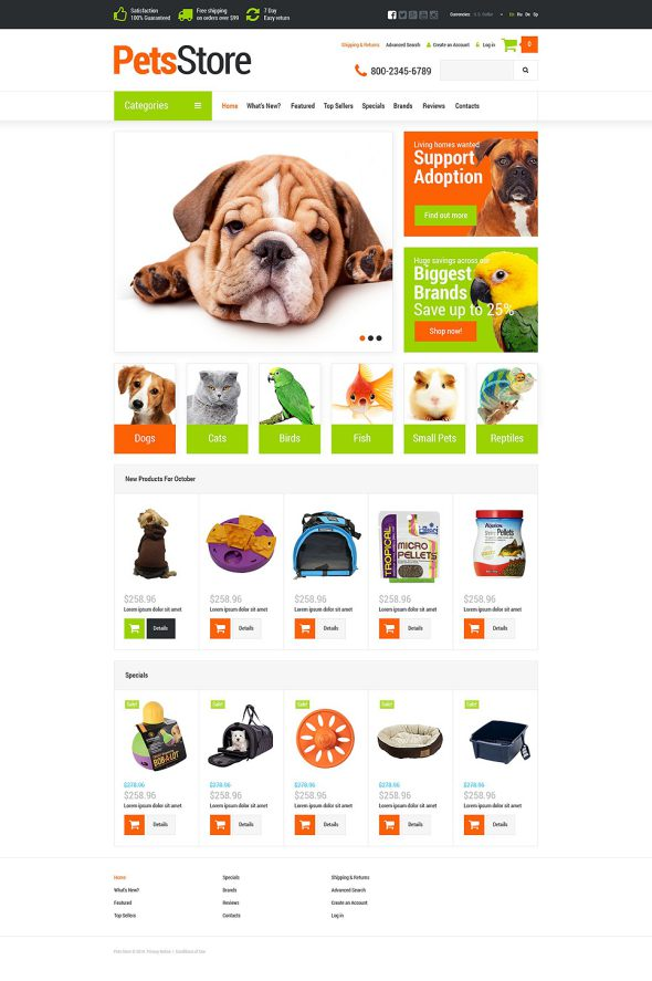 Pets Supplies Shop OsCommerce Template TMT