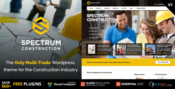 Spectrum - Construction Multi-Trade Wordpress Theme  TFx