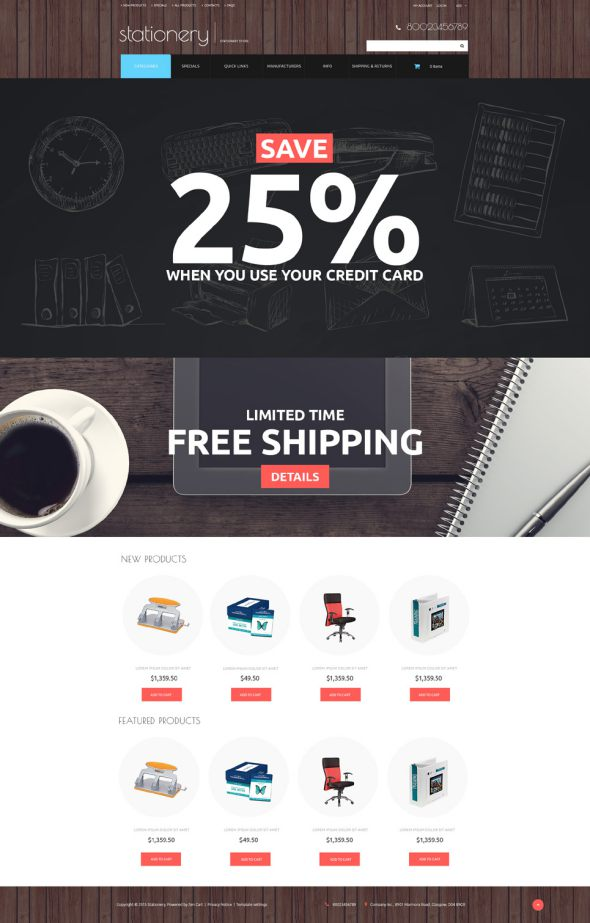 Stationery Responsive ZenCart Template TMT