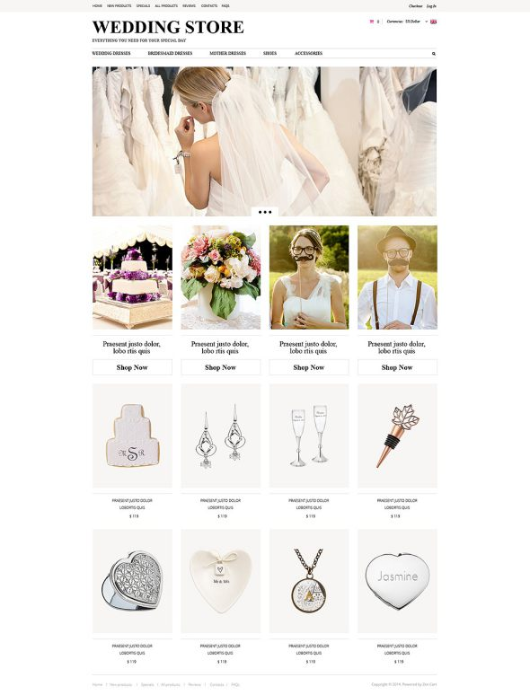 Wedding Planning ZenCart Template TMT