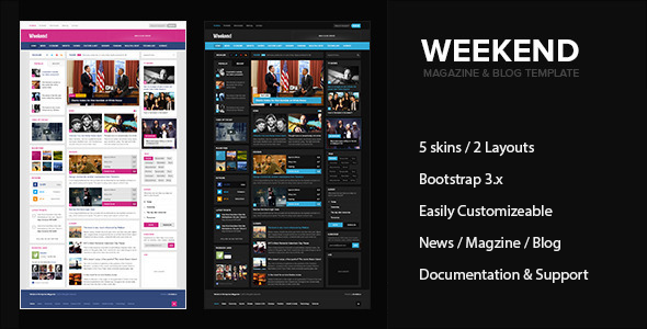 Weekend - Magazine & Blog HTML Responsive Template  TFx