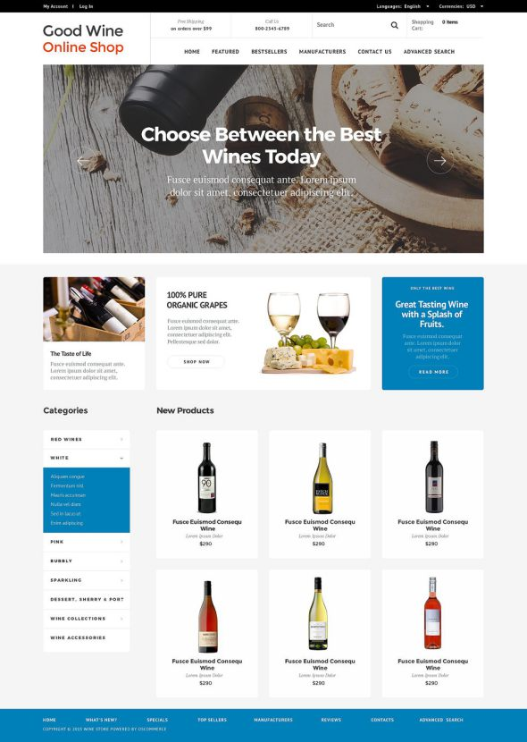 Wine Store OsCommerce Template TMT
