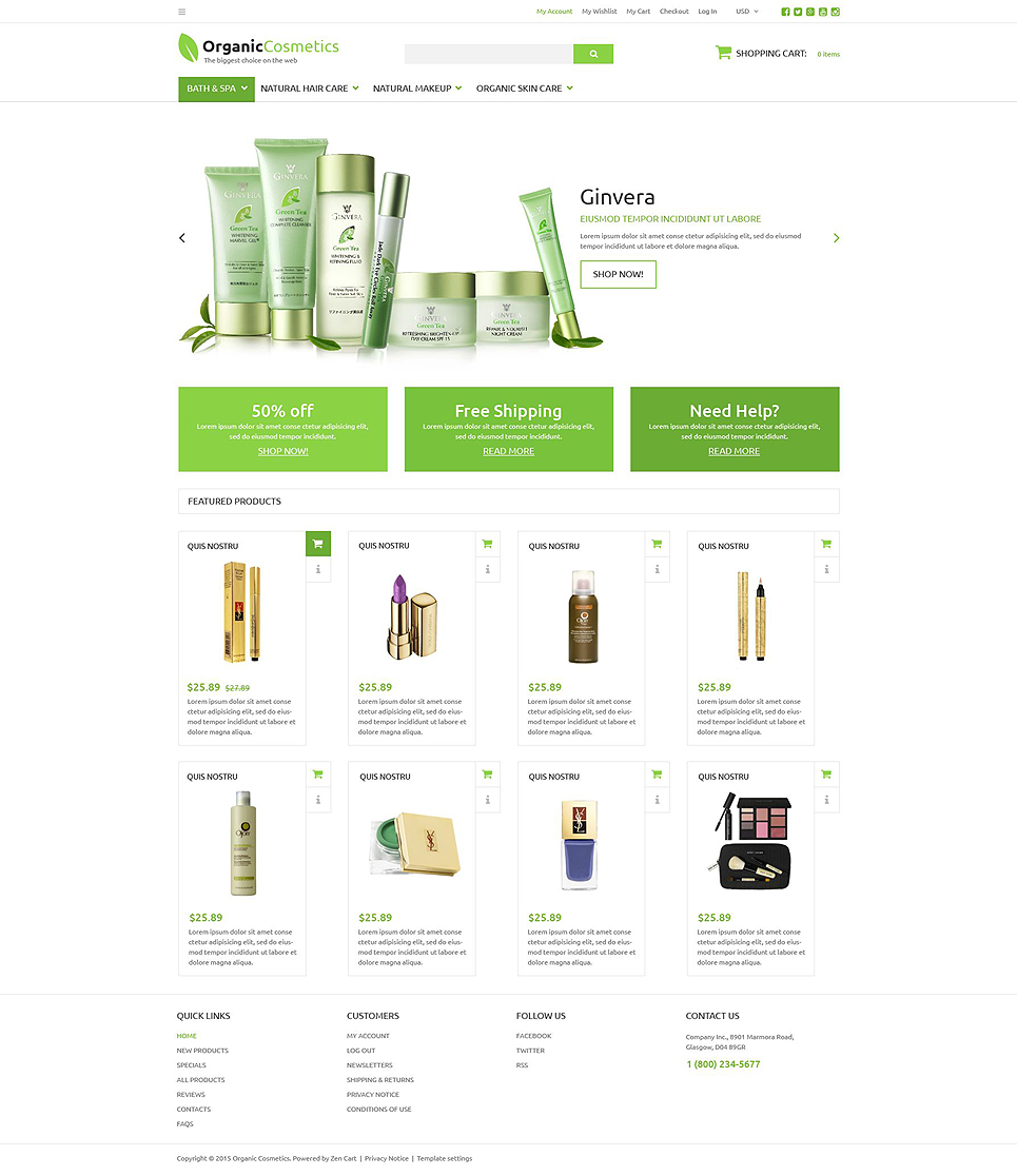 Organic Products Store ZenCart Template TMT